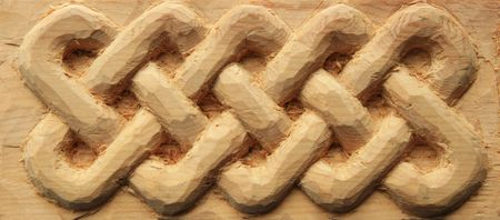 interlace: hand carved wooden celtic interlace design Stock Photo