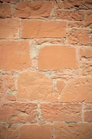 vignetted vertical old red sandstone wall  Stock Photo - 5369699