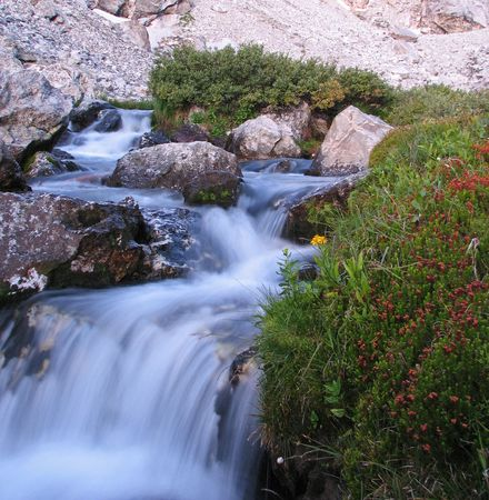 rushing mountain stream in Garnet Canyon, Grand Teton National Park with silky water from long exposure Stock Photo - 5514368