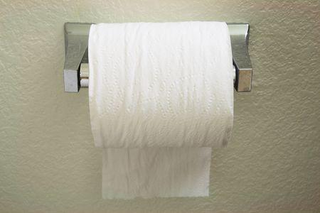 tejido: un ba�o con dispensador de rollo de papel de la alimentaci�n de papel sobre la parte superior hacia la parte posterior