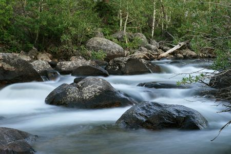 long exposure of a stream with smooth small waterfalls and rapids Stock Photo - 5586595