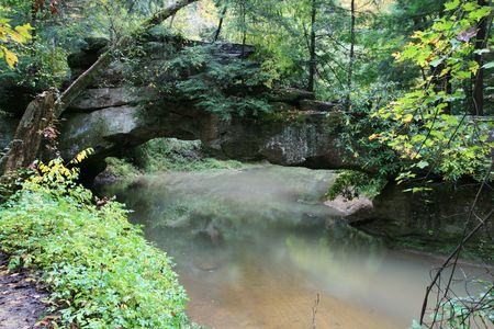 rock bridge over swift camp creek in the clifty wilderness of the red river gorge, kentucky Stock Photo - 5729536