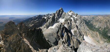 Panorama of the Teton Range from the summit of Teewinot peak Stock Photo - 6025425