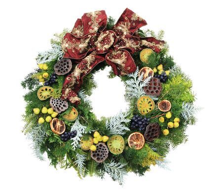 christmas wreath with mini pears and other decorations and a red bow isolated on white Stock Photo - 6064610