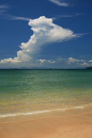 tropical beach in Thailand with towering white cloud Stock Photo - 6725661