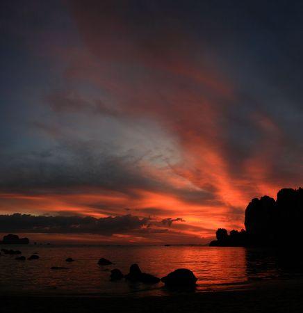 Thailand beach sunset on Tonsai Beach, Krabi Stock Photo - 6800841