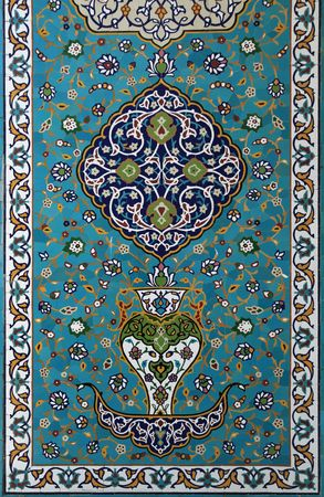 predominantly blue glazed islamic tile mosaic design