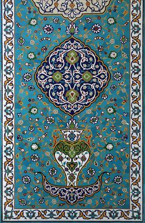 design: predominantly blue glazed islamic tile mosaic design