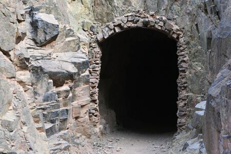 south kaibab trail: horizontal image of a tunnel entrance on the South Kaibab Trail