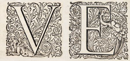 fancy letters V and E from a 17th century bible Stock Photo