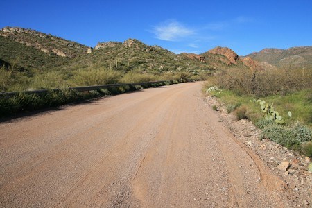 Arizona rural dirt road with distant mountains