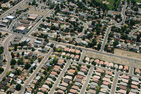 aerial photograph of housing in a town in the USA Stock Photo