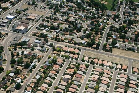 Luftbild der Geh�use in einer Stadt in den USA