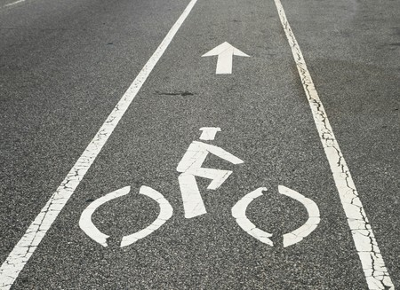bicycle lane marker on a city street Stock Photo - 7094070