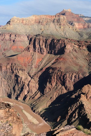 south kaibab trail: view down to the muddy Colorado River from the South Kaibab Trail, Grand Canyon National Park, Arizona