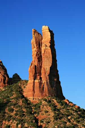 Oak Creek Spire from the southwest near sunset, near Sedona, Arizona Stock Photo - 7113372