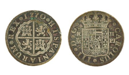 both sides: 1770 spanish 2 real coin showing both sides isolated on white background
