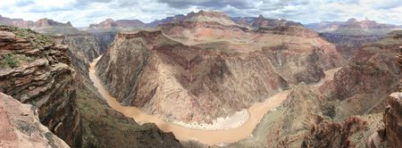 plateau point: Grand Canyon and Colorado River panorama from plateau point