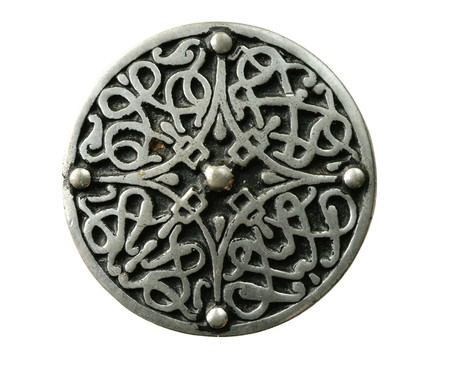 pewter celtic brooch pin isolated on white Stock Photo