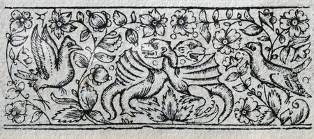 17th: antique wood print from 17th century book of prayer with floral design and birds and dragons