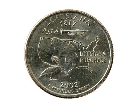 Louisiana state quarter coin isolated on white background Stock Photo - 7247797