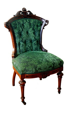 upholstered: Victorian chair from an 1874 parlor set made in Philadelphia by A and H Lejambre isolated on white
