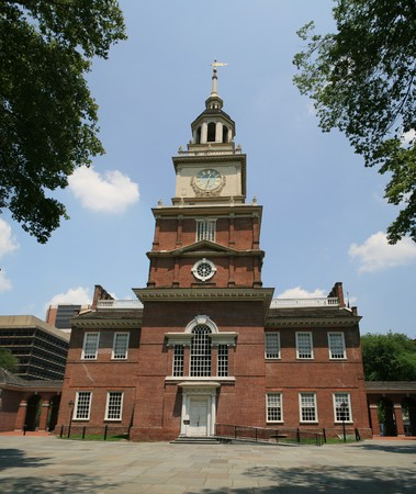 Independence Hall in Philadelphia Pennsylvania from the south side, site of the signing of the Declaration of Independence in 1776 Stock Photo