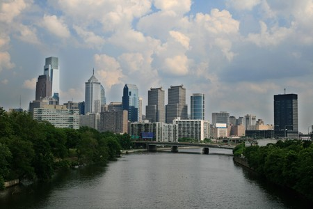 Philadelphia city skyline above the Schuylkill River