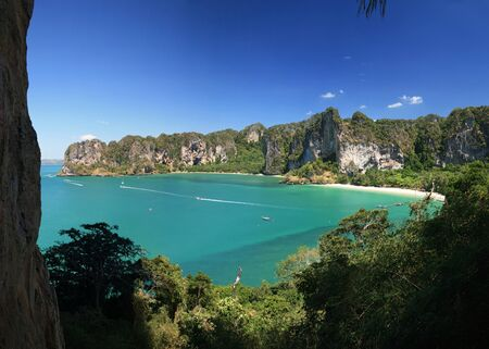 Panorama of the west side of the Railey Peninsula from Thaiwand Wall, Krabi, Thailand Stock Photo - 7361086