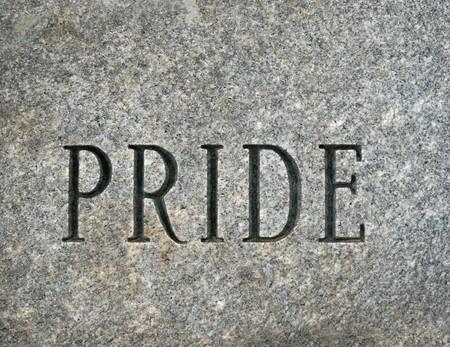 granite: the word pride carved onto a granite cobble stone Stock Photo
