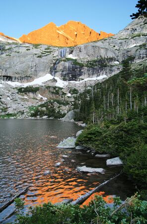 Black Lake in rocky Mountain National Park with early light on the peaks behind it Stock Photo - 7392965