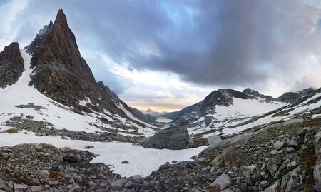 Mount Helen and Titcomb Basin panorama in the Wind River Range, Wyoming Stock Photo - 7461598