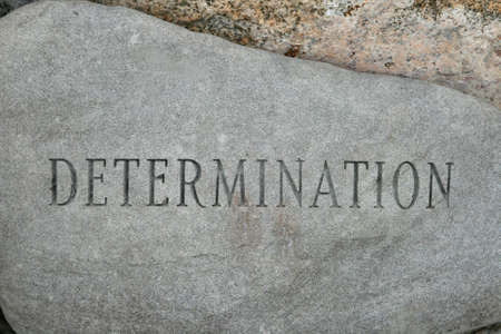 the word determination carved onto a granite cobble stone Stock Photo