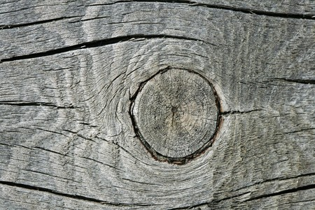 knothole: gray split wood with a knothole in it Stock Photo