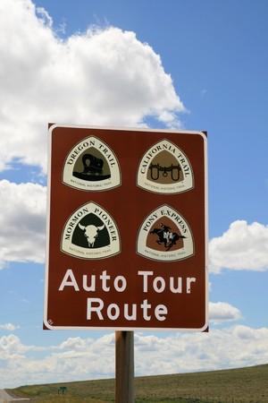 oregon trail, california trail, mormon pioneer trail, and pony express auto tour route sign Stock Photo - 7785208