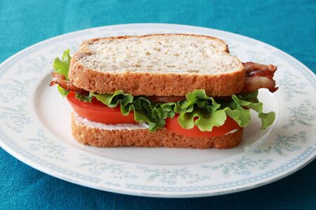 BLT or bacon lettuce and tomato sandwich on a plate Stock Photo - 7785225