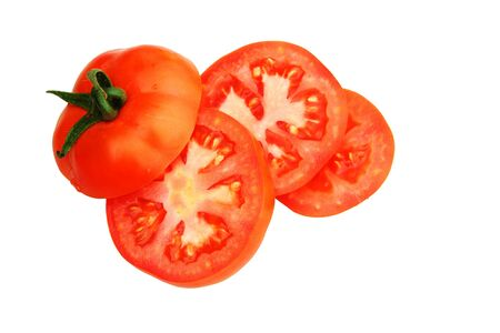 fresh red garden tomato slices isolated on white background Stock Photo - 7785224