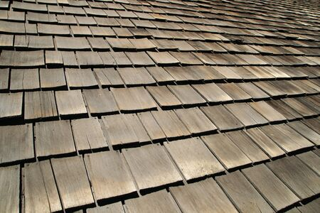 horizontal background image of old gray roof shingles