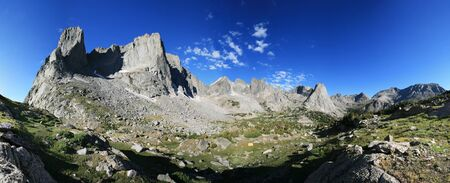 mountain panorama in the Cirque of the Towers in the Wind River Range of Wyoming Stock Photo
