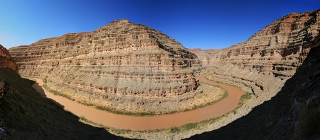 silty: panorama of the San Juan River near Honaker camp in Utah