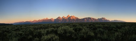 panorama of the Teton Range at sunrise photo