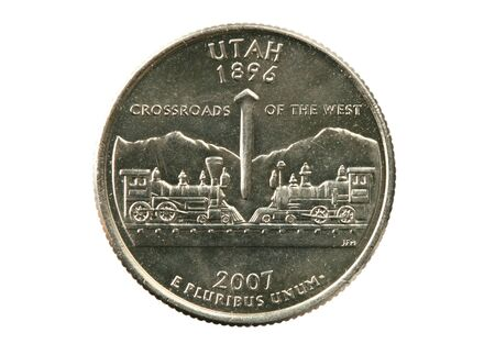 Utah state quarter isolated on white background Stock Photo - 8039920