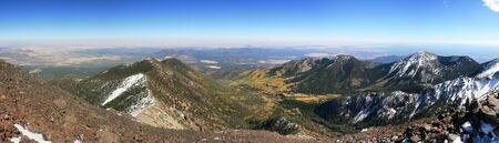 mount humphreys: panorama of the San Francisco Peaks near Flagstaff from the summit of Mount Humphreys Stock Photo