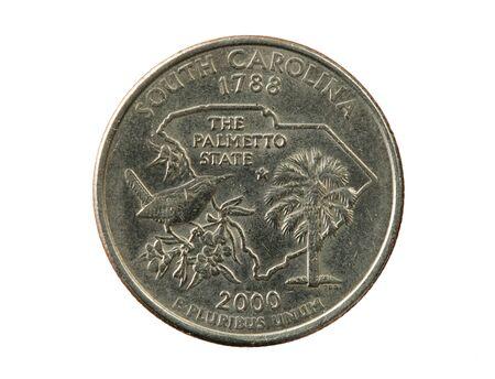 pluribus: North Carolina state quarter isolated on white background Stock Photo