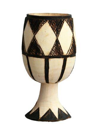 Afrikaanse houten beker met gebrand op ontwerp