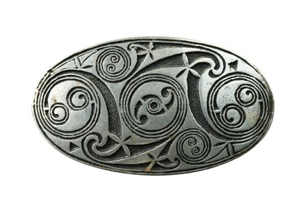pewter celtic shield brooch isolated on white background Stock Photo - 8161354