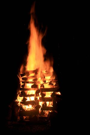 blazing bonfire at night with black background Stock Photo - 8234417