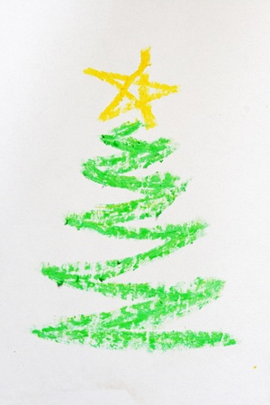 Christmas tree picture hand drawn in crayon Stock Photo - 8334310