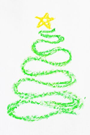 crayon curved Christmas tree drawing with yellow star Stock Photo - 8334314