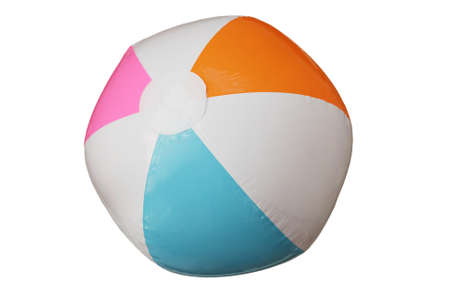 blowup: blue pink orange and white beach ball isolated on white background Stock Photo